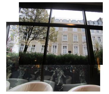 cityscape through window